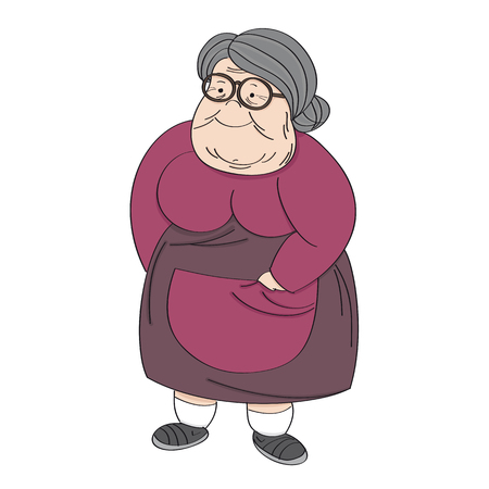 Old cheerful grey-haired obese senior woman, standing and smiling. Original hand drawn illustration. Иллюстрация