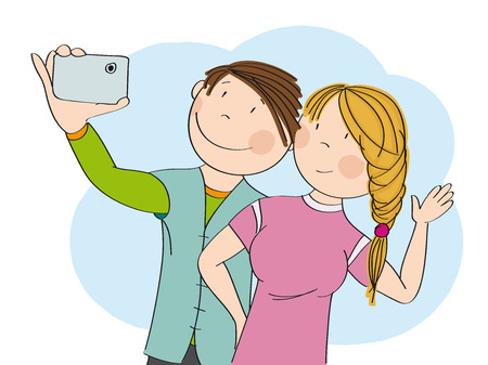 Young happy couple taking selfie. Original hand drawn illustration. Фото со стока - 122893848