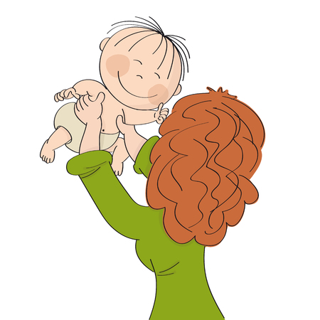 Young mum playing with her little baby, holding him or her in her hands high up in the air. Child is smiling happily. Original hand drawn illustration.