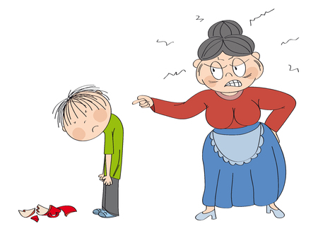 Old woman, granny, angry with her grandson, pointing at him. Broken cup laying on the floor. Boy is looking sad, waiting to be punished. Original hand drawn illustration. Иллюстрация