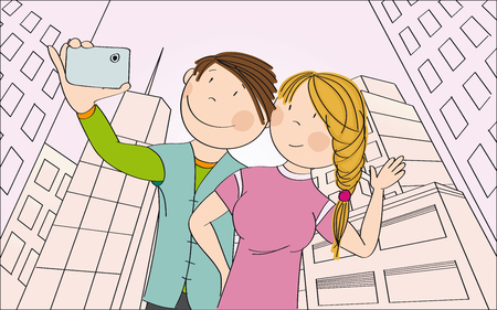 Young happy couple taking selfie in the city. Original hand drawn illustration.
