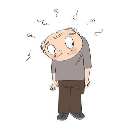 Frustrated old man, standing and feeling lonely and lost. Original funny hand drawn illustration.