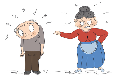 Spouses quarrel or domestic violence concept. Old lady full of rage, angry with her husband, shouting at him, pointing her finger, starting a quarrel. Original funny hand drawn illustration.