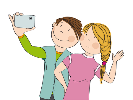 Young happy couple taking selfie. Original hand drawn illustration. Иллюстрация