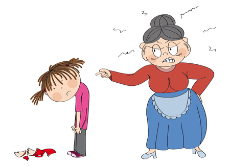 Old woman, granny, angry with her granddaughter pointing at her. Broken cup laying on the floor. Girl is looking sad, waiting to be punished. Original hand drawn illustration.
