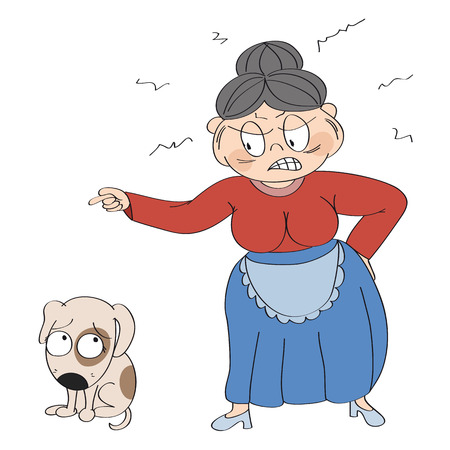 Old woman angry with her dog, pointing her finger at it. Puppy is looking sad, waiting to be punished. Original hand drawn illustration.
