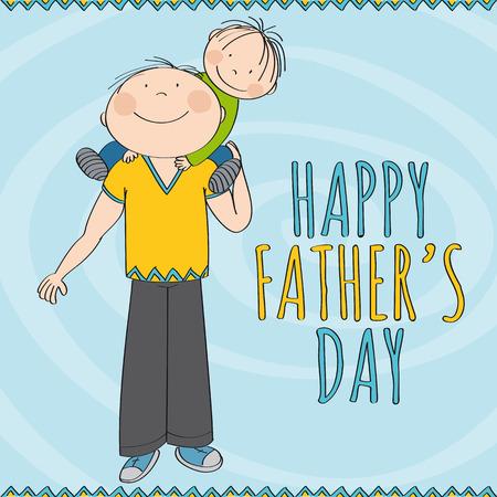 Glücklicher Vatertag - glücklich lächelnder Vater, der kleines Kind, seinen Sohn, auf seinen Schultern trägt. Netter Junge lächelt. Ursprüngliche handgezeichnete Illustration.
