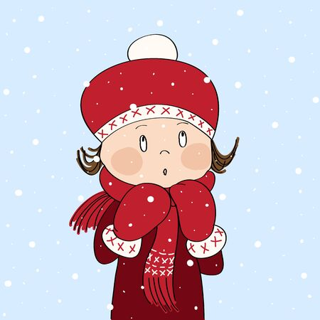 Cute little girl in winter outfit, looking up, watching falling snow - original hand drawn illustration
