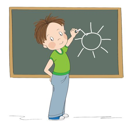 Cute little boy standing in front of the blackboard, drawing sun with chalk, smiling happily - original hand drawn cartoon illustration