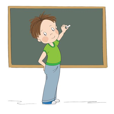 Cute little boy standing in front of the blackboard, showing something with chalk, preparing to draw or write, smiling happily - original hand drawn cartoon illustration Stock Illustratie
