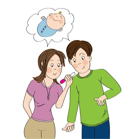 Happy young couple looking at the positive pregnancy test, imagining their newborn baby - original hand drawn illustration