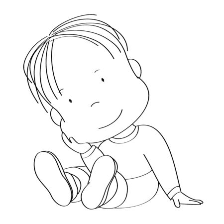 Cute little boy sitting on the floor, smiling happily - original hand drawn illustration Stockfoto - 137129252