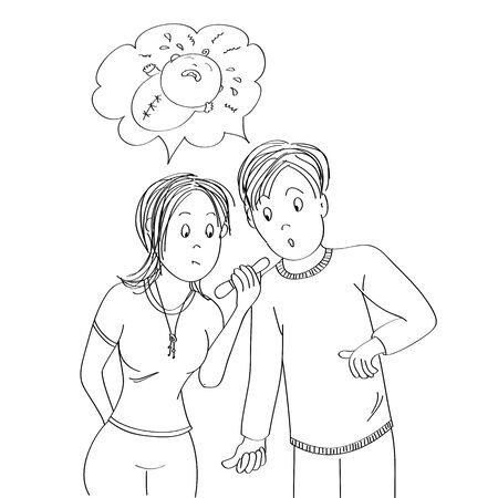 Confused, surprised and unhappy young couple looking at the positive pregnancy test, imagining crying baby - original hand drawn illustration Stockfoto - 137129256