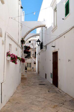 Street in Locorotondo town, Italy, region of Apulia, Adriatic Sea