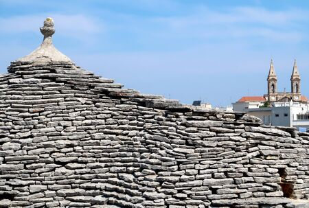 Closeup of the roof of the traditional Trulli house in Alberobello city, Italy, Apulia region, Adriatic Sea Stockfoto - 137129487