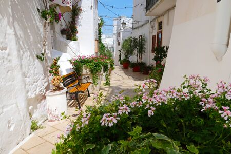 Scenic sight of the Ostuni town sunny street with bench and blooming flowers, Apulia region, Italy, Adriatic Sea Stockfoto