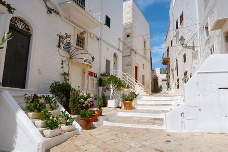 Scenic sight of the Ostuni town sunny street with blooming flowers, Apulia region, Italy, Adriatic Sea