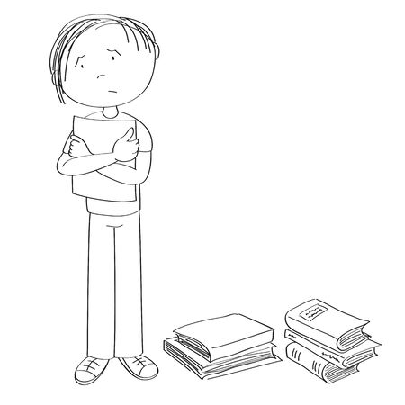 Sad and stressed teenage student standing and holding a list of paper, stack of books around him - original hand drawn illustration Иллюстрация
