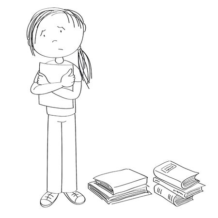 Sad and stressed teenage student standing and holding a list of paper, stack of books around her - original hand drawn illustration