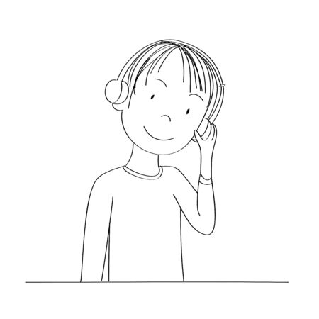 Happy young teenage boy listening to music with headphones on his ears, smiling happily - original hand drawn illustration Иллюстрация
