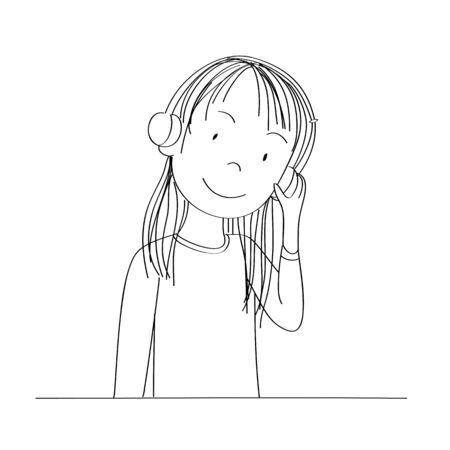 Happy young teenage girl listening to music with headphones on her ears, smiling happily - original hand drawn illustration
