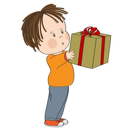 Cute little boy standing and holding big wrapped gift box decorated with red ribbon bow, looking surprised and excited, looking forward to open the present - original hand drawn illustration. Иллюстрация