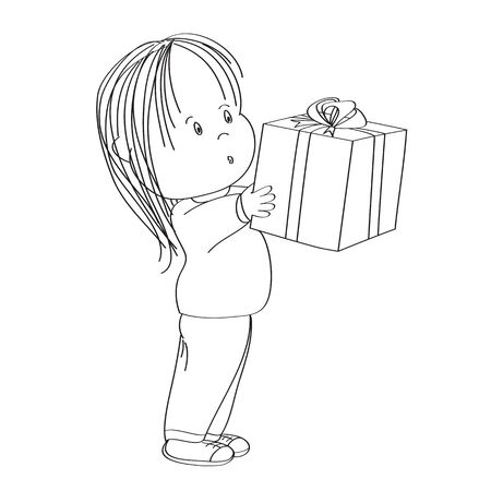 Cute little girl standing and holding big wrapped gift box decorated with red ribbon bow, looking surprised and excited, looking forward to open the present - original hand drawn illustration.