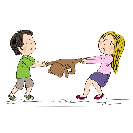 Two siblings (brother and sister) or friends fighting, pulling teddy bear toy, boy is angry and girl is tearful - original hand drawn illustration