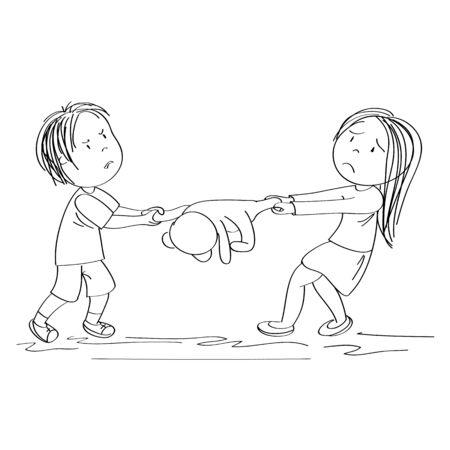 Zwei Geschwister (Bruder und Schwester) oder Freunde kämpfen, ziehen Teddybär-Spielzeug, Junge ist wütend und Mädchen ist weinerlich - original handgezeichnete Illustration