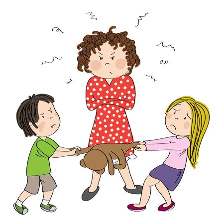 Two siblings (brother and sister) fighting, pulling teddy bear toy, boy is angry and girl is tearful. Their mother is standing behind them with her hands crossed, looking angry - original hand drawn illustration Illustration