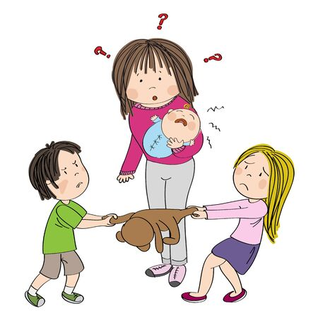 Two siblings (brother and sister) fighting, pulling teddy bear toy, boy is angry and girl is tearful. Their mum with little baby in her hands is standing behind them, wondering what to do, looking puzzled - original hand drawn illustration Иллюстрация