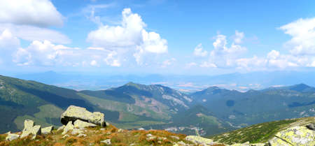 Landscape scenery - view of the Low Tatras (Nizke Tatry) on the tourist path to the Chopok mountain peak. Summertime in the Northern Slovakia, Slovak Republic, Europe.