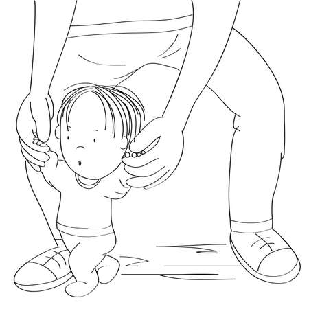 Little baby boy learning to walk. Young father helping his son, holding the toddler, making first steps - original hand drawn cartoon illustration