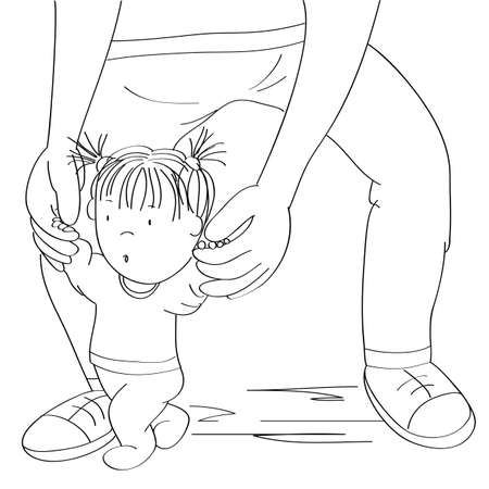 Little baby girl learning to walk. Young father helping his daughter, holding the toddler, making first steps - original hand drawn cartoon illustration