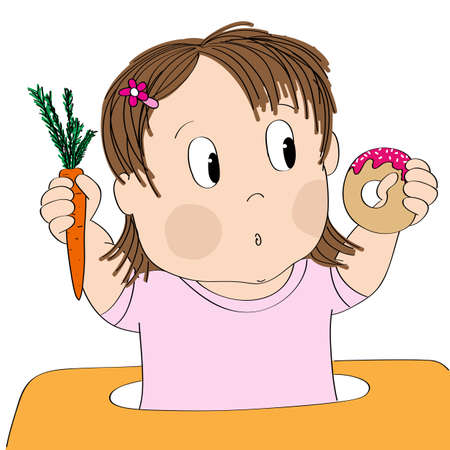 Dubious little baby girl thinking of food, trying to decide what to eat - whether healthy or unhealthy food - original hand drawn cartoon illustration