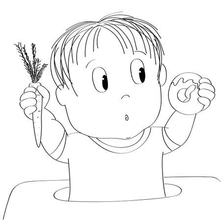 Dubious little baby boy thinking of food, trying to decide what to eat - whether healthy or unhealthy food - original hand drawn cartoon illustration