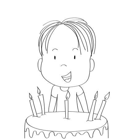 Cute little boy smiling happily, celebrating birthday, b-day chocolate cake with seven candles in front of him - original hand drawn cartoon illustration Çizim