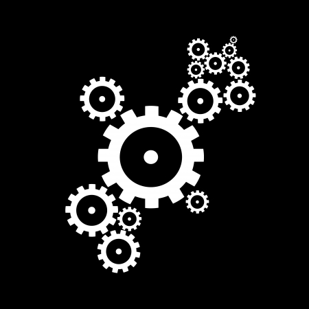 cogs and gears: abstract vector cogs, gears on black background  Illustration