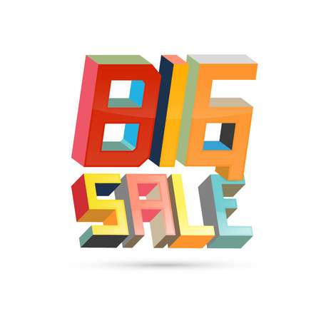 retro 3d big sale title  Vector