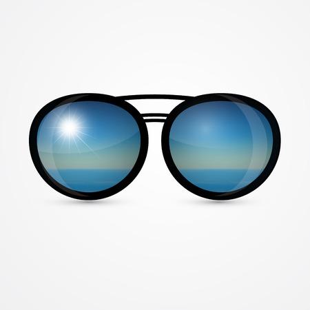 wayfarer: vector sunglasses with sea scene reflection
