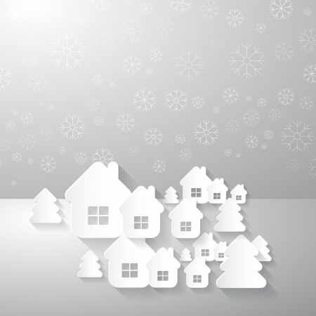 christmas made from paper  trees, houses, snowflakes Vector