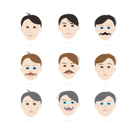Men Heads Set Vector