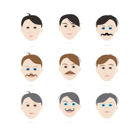 shaved head: Men Heads Set