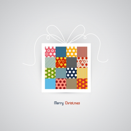 abstract retro gift, present box with merry Christmas greeting Vector