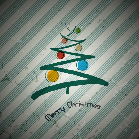 retro christmas background with abstract tree and balls  Vector