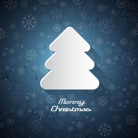 vector christmas tree made from paper on blue background  Vector