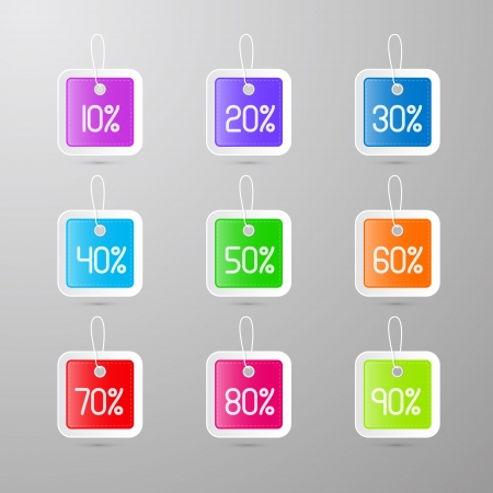 colorful vector discount tags, labels  Vector