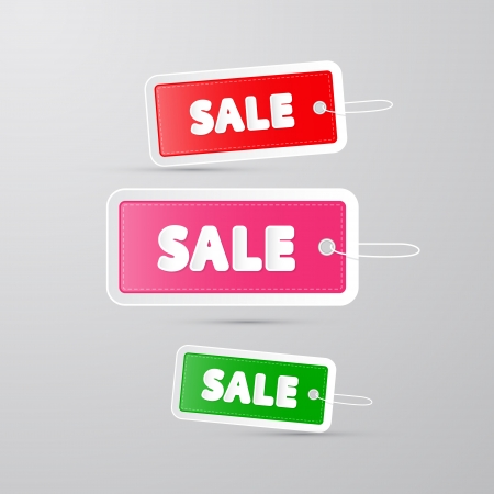 d offer: colorful sale tags, labels with string