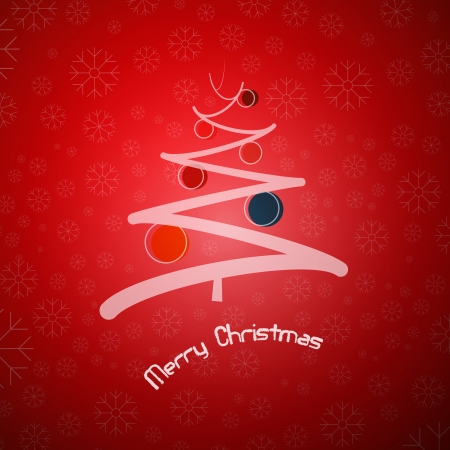 abstract red christmas background with abstract tree and balls  Vector