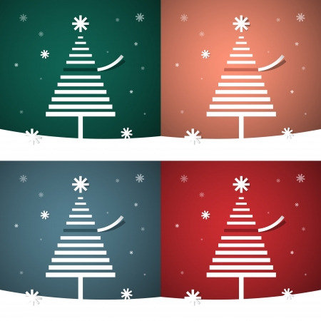 retro christmas background with abstract trees  Vector